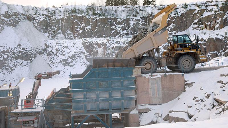 Bergtäkten i Runtorp har en stationär krossanläggning.